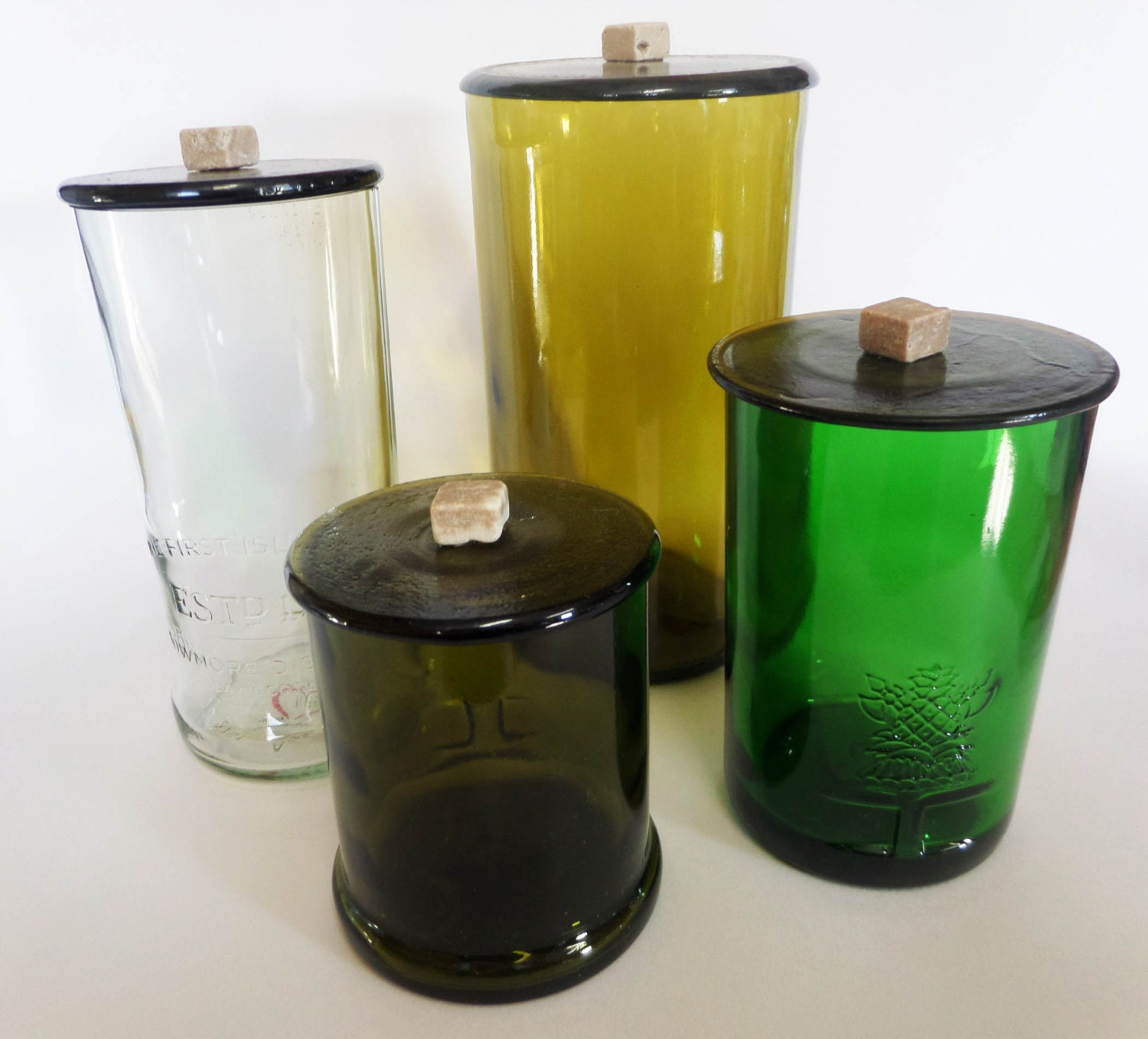 Set Of 4 Bottle Glass Containers With Lid Custom Made Item