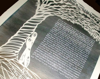 Silver Tree Papercut Ketubah - with snowboards