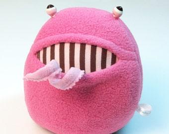 Pink Brown Stripe Polliwog Monster Plush Lampwork Eyes