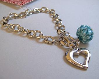 Heart and Glass Charm Bracelet  - Rhodium and Handmade Lampwork - Teal Mum Blossom (B-82)