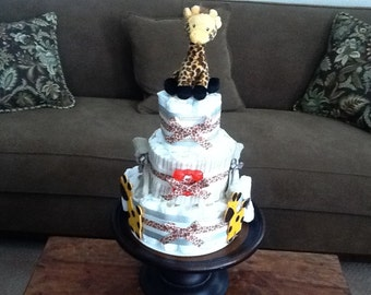 Giraffe Diaper cake Cream and greys Baby shower gift centerpiece