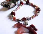 Horse Spirit - Necklace / Agate and Mexican Fire Opal and Carnelian