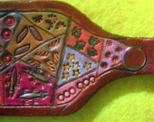Leather Crazy Quilt Key Fob with Medium Brown Border