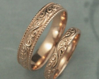 Antique Style Wedding Rings--Flourish Wide Wedding Set--14K Rose Gold Wedding Bands--Vintage Design Rings-Patterned Rings-His and Hers Bands