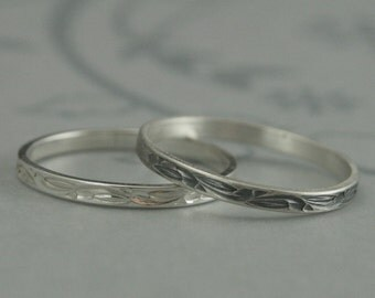 Sweet Pea Stackers--Solid Sterling Silver Engraved Thin Wedding Band--Small Flat Silver Band--Diamond Cut Flourish Design--Hand Made to Size