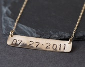 """Save the Date / Nameplate Necklace- as seen in """"NYLON"""", """"The ZOE Report"""" + """"Martha Stewart Weddings"""""""