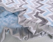 Blue and Gray Chevron Minky Baby Blanket Can Be Personalized