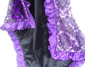 Personalized Purple Damask and Black Minky Baby Blanket