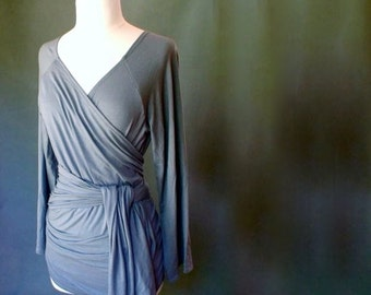 Organic french terry wrap shirt , wrap around tunic top, organic women's clothing