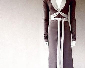Long faux wrap dress, maxi dress, organic cotton dress, handmade organic clothing