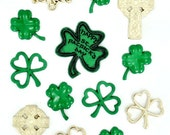 Celtic Creations Jesse James Buttons Set of 13, St Patricks Buttons, Celtic Buttons, Shamrocks