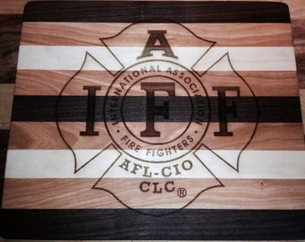 12 X 14 Maple, Black Walnut, and Cherry IAFF Cutting Board.