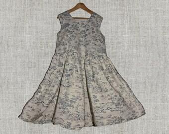 Toddler Girl dress, Blue Toile Dress, Blue girl dress, summer cotton dress, Flower girl sundress, Wedding outfit, Dress blue toile scene