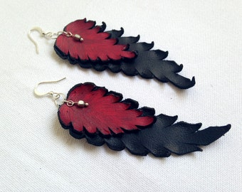 Dangle leather feathers earrings Long black and red Leather jewelry