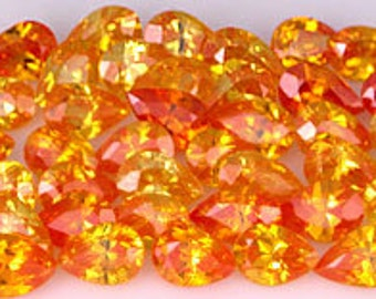 one 42 pc. Lot of Fiery Yellow CZs ~ Pear cut from 6x4mm to 5x3mm ~ Clearance priced ~ FDK