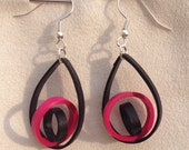 Two color Hot Pink and Black circle in a circle teardrop Dangle Earrings