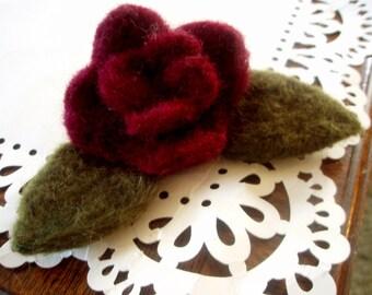 Felt Rose - Needle Felted Flower - Medium Rose Applique Decoration - Custom Listing - You Choose the Color