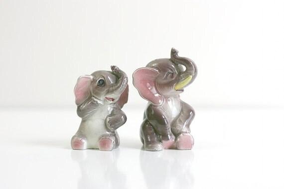 Vintage Ceramic Salt And Pepper Shakers Vintage Ceramic Elephant Salt