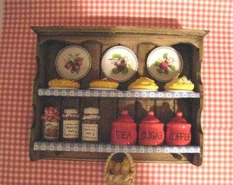 Dollshouse Wall  shelf,  country style shelf, country, shelf, dark oak shelf, kitchen shelf,, twelfth scale dollhouse miniature