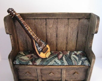 Dollhouse lute, Tudor lute,  mandolin,  twelfth scale dollhouse miniature