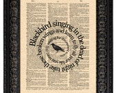 The Beatles Blackbird Song Lyric Art Print, Blackbird Song Art, Beatles Wall Art, Vintage Dictionary Art, Book Page Art, Spiral Word Art