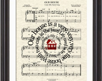 Our House Song Lyric Sheet Music Art Print, Crosby, Stills, Nash and Young, Music Wall Art, Favorite Song Art