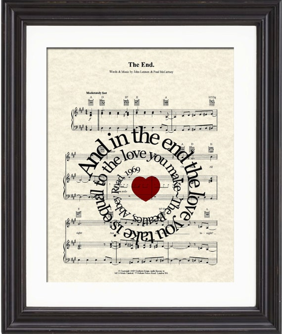 the end by the beatles song lyric sheet music art print. Black Bedroom Furniture Sets. Home Design Ideas