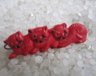 vintage hair barrette, three  kittens, red cats