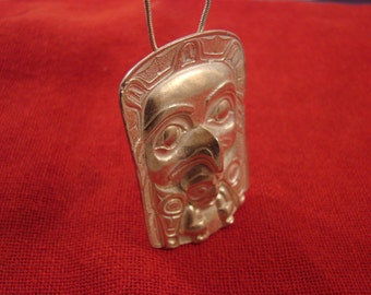 Pendant  NorthWest  Native  Eagle & Shaman   made in solid  Bronze   Canada