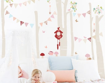 Girls Tree Forest Fabric Decal Wall Stickers - Forest Scene