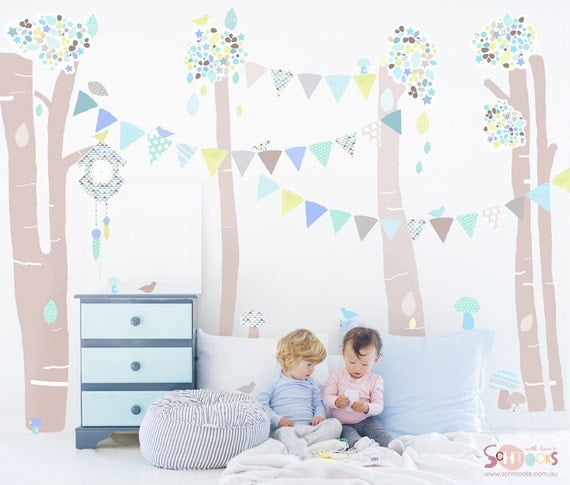 Tree Forest Fabric Decal Wall Stickers - Greens, grey and blue hues and geometric inspired patterns.
