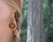 Wood Tree of Life Earrings with Spirals- in Cedar  (MOD 19)- Wooden Jewelry, Boho Jewelry