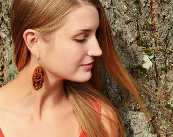 Wood Wonderland Earrings- with Hookah Guy- in Juniper Wood  (MOD 22)- Wooden Jewelry, Boho Jewelry