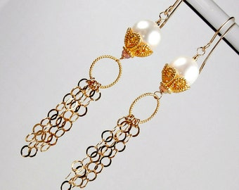 Pearl Chain Tassel Earrings 14kt Gold Fill Pearl Dangle Long Gold Chain