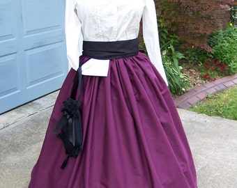 Civil War, Dickens costume Long Drawstring SKIRT and Sash one size fit all Plum solid cotton, Black Sash Handmade
