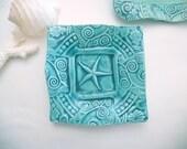 Starfish Trinket Dish Teal Handmade Pottery