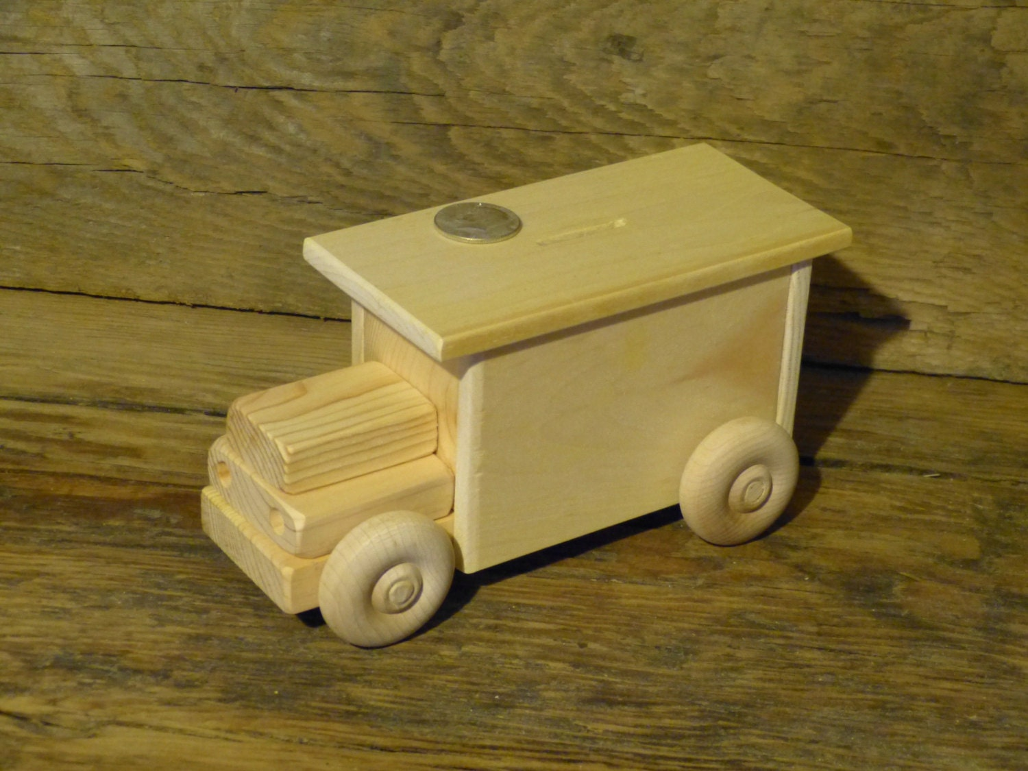 Wood toy bank truck wooden toys coin handmade woodworking for Handmade coin bank