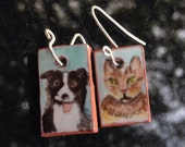 Majolica tile portrait earrings: silly dog & serious cat
