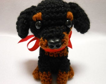 Rottweiler Crochet Dog In Black and Rust Colors, Canine, Amigurumi, Stuffed Animal, Stuffed Dog, Rottie