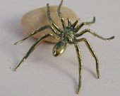 "Pin Spider, Large Long Legged Spider Pin in bronze Halloween darken 2"" costume creeping brass or bronze"