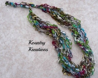 Ladder Yarn Necklace, Teal, Lime Green, Silver, Light Pink and Maroon Crocheted Ribbon Necklace, Fiber Jewelry (Ready to Ship)