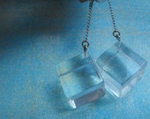 MOD Clear Lucite Cube Hanging Earrings on Chain Screw Back