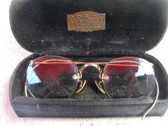 Frameless Vintage Glasses : Vintage Frameless Eye Glasses with Case Very Old Octagon
