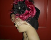 Black hat Edwardian Victorian style Downton Titanic OOAK burgundy feather pearl