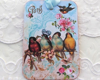 Bird Gift Tags, Paris tags, French Vintage, Blue crown Bird, Bird Lover, High Tea Party, Bridal Shower Favor,  Happy Birthday, Handmade