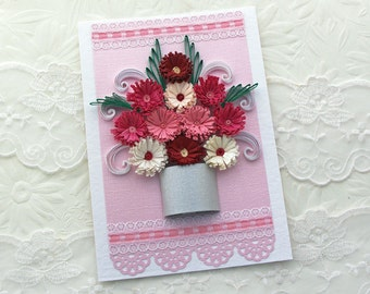 Card- Paper Quilling - Paper Quilled- Birthday- Mom -Thinking of You -Congratulations- Silver Pot- Pink- Fuchsia- Fringed Flower- Handmade