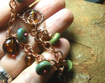 Desert Princess Bracelet -Opulent Glass and Ceramic Beaded Pure Copper Chain - Handmade