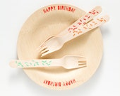 "Happy Birthday Plates & Forks - 10 Wooden Plates - 7"" Dessert/Appetizer Size or 9"""