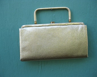 1950s Gold Clutch Purse - Convertible with Swing Out Handle