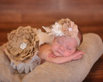 Burlap French Netting Bling Khaki Cream Flower Cluster On Elastic Headband Free Shipping On All Additional Items
